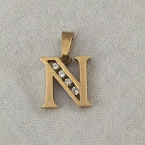 "14K YELLOW GOLD & DIAMOND INITIAL ""N"" PENDANT"